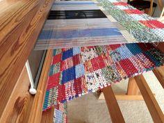 Double-binding rag rug on loom.