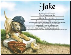 Puppy Dog Baseball Fan in Hat With Ball and Glove Ready to Play Ball Sports Theme Art Print First Name History Ancestry Origin Document Certificate 8.5 x 11 Inches