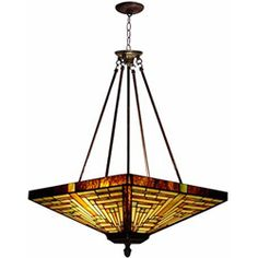 Li Illuminate Your Home S Interior With This Inverted Stained Gl Chandelier Tiffany Style Lighting Features A Beautifully Lit Shade In Hues Of Yellow