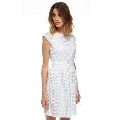 White Geo  Square Cutwork Dress