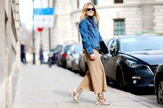 Street style semana de la moda de Londres febrero 2015 chaquera vaquera