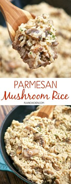 Parmesan Mushroom Rice - ready in 20 minutes! You'll never use the boxed stuff again! Rice, mushrooms garlic, chicken broth, milk, parmesan cheese and parsley. So easy and SOOOO delicious! You can leave out the mushrooms if you don't like them - great either way. Rice Side Dishes, Vegetable Side Dishes, Food Dishes, Cheese Dishes, I Love Food, Good Food, Yummy Food, Tasty, Vegetarian Recipes