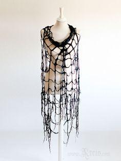 Spider Web Gothic Clothing Scarf - Cobweb Felt Scarf Wrap in Black