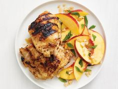 Grilled Thai Chicken with Nectarine Salad by Food Network Kitchen Asian Recipes, Healthy Recipes, Ethnic Recipes, Healthy Chef, Meat Recipes, Grilling Recipes, Cooking Recipes, Kitchen Recipes, Chicken