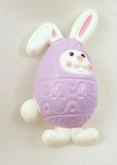 Purple Easter Egg Disguised Bunny Rabbit Avon Whimsical VINTAGE PIN