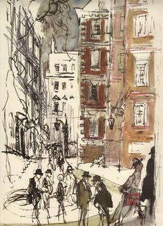 Felix Topolski Girls Out, Sketching, Illustrations, London, People, Painting, Image, Art, Dibujo