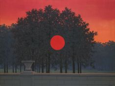 One of Taylor (and my) favorite paintings at the Art Institute in Chicago.  Though Magritte is a surrealist painter, this is actually a naturally occurring phenomenon.  The intensity of a sundown can be so bright and orange that it looks like the sun is really burning through the trees.  Absolutely read, absolutely surreal.  Finding a poster of this one has been literally impossible, but I keep hoping someday they will start printing them.