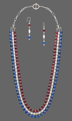 Jewelry Design - Triple-Strand Necklace and Earring Set with Cultured Freshwater Pearls and Swarovski Crystal and Plastic Beads - Fire Mountain Gems and Beads