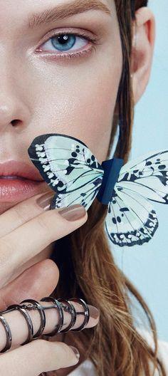 Beautiful Butterfly / karen cox.  The Warmest Blue, Meghan Collison photographed by An Le for Numéro Russia April 2015