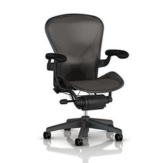 Herman Miller Aeron Tilt Limiter Task Chair, Adjustable Vinyl Arms, Graphite Frame / Carbon Classic Pellicle One of the most popular and best office chair for lower back pain is this Herman Miller's Aeron office chair. Best Ergonomic Office Chair, Best Office Chair, Best Desk, Office Chairs, Desk Chairs, Office Seating, Dining Chairs, Bag Chairs, Furniture Chairs