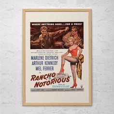 RETRO MOVIE POSTER - Marlene Dietrich Movie Poster - Rancho Notorious Movie Ad Retro Kitsch Movie Poster Pulp Fiction Ad