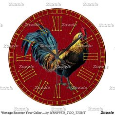 Vintage Rooster Your Color Paint Large Clock