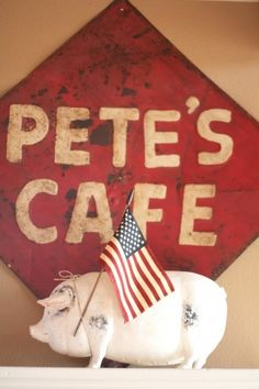 "Vintage cafe sign and the ""little piggy that went to the market""  #vintage sign #red #farm style #farmhouse"