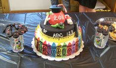 Teacher's Graduation cake - College graduation cake for cousin graduating in Elementary education. Everything edible.