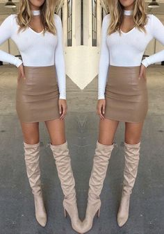 Brown Plain Wrap Elastic Waist Mid-rise Sexy Leather Skirt White Choker Neck Sweater OTK Boots