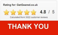 Whoop whoop! Over 3,000 positive reviews from our customers. A great BIG thank you is in order!! :) We use the independent quality assurance system Ekomi to gather and calculate our service performance: 4.8 out of 5 stars! https://www.ekomi.co.uk/review-getgearedcouk.html