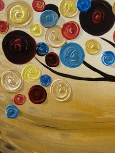 RESERVED for SamOriginal abstract painting Swirl Tree acrylic art on canvas 48x24 SALE. $199.99, via Etsy.