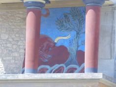 Burg/Palast/Schloss/Ruine - Wandmalerei(Stier)/Säulen