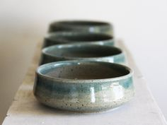 Blue and Green Celadon - small prep bowls for cooking or appetizers - salt pepper garlic condiments - small accent bowls for interior USD) by AhiOzawa Pottery Bowls, Ceramic Pottery, Pottery Art, Ceramic Plates, Ceramic Art, Earthenware, Stoneware, Bleu Celadon, Ceramic Glaze Recipes
