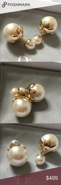 5d09a05f082e Auth Christian Dior Tulip Tribal Pearl Earrings Pristine Like NEW! Comes  with box only.