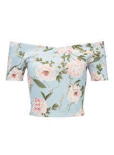 Blue Floral Bardot Crop Top - Tops - Clothing - Miss Selfridge