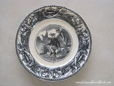 J. Vieillard et Cie Bordeaux 19th Century Humorous Plate Fishing Theme Antique French Transfer Printed Plate No 3 www.fatiguedfrenchfinds.com
