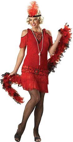 roaring 20 dresses in women size | Flapper Costume -Women's Shimmery Red Roaring 20's Dress