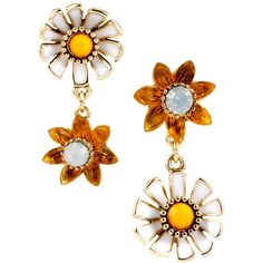 Betsey Johnson Flower Child Daisy Flower Mismatched Drop Earrings (€18) ❤ liked on Polyvore featuring jewelry, earrings, white mult, drop earrings, daisy flower earrings, betsey johnson jewelry, daisy drop earrings and post earrings
