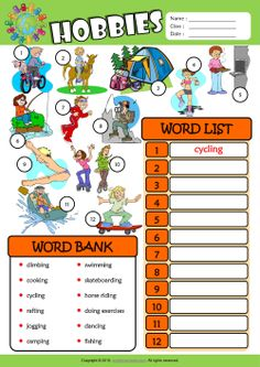 Hobbies ESL Find and Write the Words Worksheet For Kids