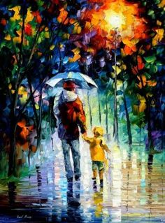 Rainy Walk With Daddy - Pallete Knife Original Recreation Oil Painting On Canavs By Leonid Afremov. Amazon