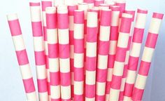 25 Bright Pink Sailor Striped Paper Straws on Etsy, $3.85