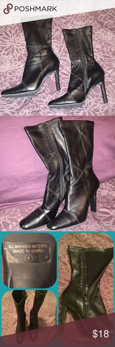 Black ankle mid calf boots Black ankle to mid calf boot. Zipper closure and stretch faux leather. Squared toe area and 4.5 inch heel. Size 8. Worn a few times. Great with longer dress pants or a skirt. Patchwork Stitching pattern and great tread on the bottom. Shoes Heeled Boots