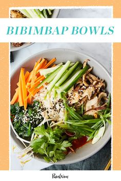 These bibimbap bowls are spicy, crunchy, satisfying and easy to make on a whim. (Did we mention they're vegan and gluten-free?) #Bibimbap #Bowls #Recipe Clean Eating Vegetarian, Vegetarian Recipes Dinner, Clean Eating Recipes, Clean Eating Snacks, Dinner Recipes, Healthy Eating, Dinner Healthy, Vegetarian Food, Eating Habits