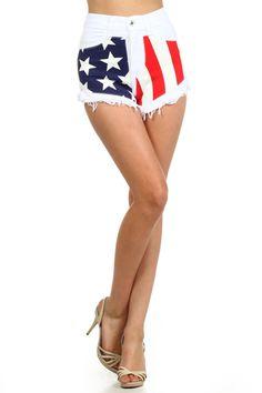 High Waist Starts And Stripes Denim Shorts With Fringed Edges