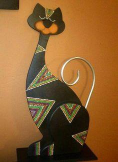 Gatos en madera puntillismo - Imagui