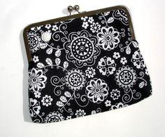 Clutch bag  black and white metal frame by NancyEllenStudios, $26.00