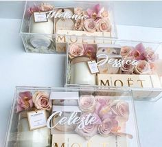 These will you be my bridesmaid boxes are to die for! I love creative people. These will you be my bridesmaid boxes are to die for! I love creative people. Bridesmaid Gift Boxes, Bridesmaid Proposal Gifts, Wedding Gifts For Bridesmaids, Bridesmaids And Groomsmen, Gifts For Wedding Party, Party Gifts, Wedding Favors, Bridesmaid Gifts Will You Be My, Wedding Gift Boxes