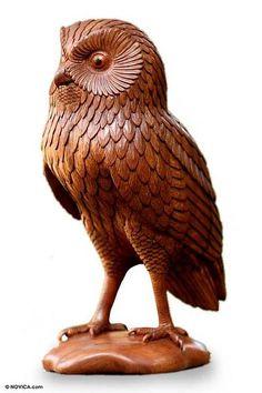 Handcrafted Wood Bird Sculpture - Night Owl | NOVICA