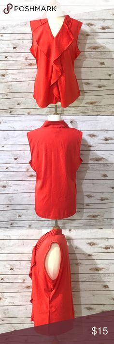 ❤️Front Ruffled  Blouse❤️ This beautiful blouse is from Banana Republic. The blouse has a very classy look to it. The size is XL but fits more like a size L. Also the color is between red and orange. Please feel free to ask for any questions related to this listing. No damages! Banana Republic Tops