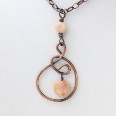 Sunstone Heart Pendant - Rustic Necklace - Heart Necklace - Sunstone Gemstone - Oxidized Copper Necklace - Boho Chic Jewelry- Zanna (65.00 USD) by Jularee