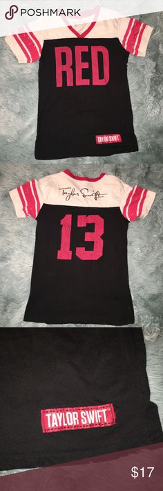 "Taylor Swift ""Red"" Tour Tshirt Baseball Varsity Taylor Swift ""Red"" Tour Tshirt Womens Sz Small S Baseball Style Varsity Black  Gently worn with no flaws. Tagged size small, see measurements to ensure proper fit.  Bust: 31""  Waist: 28""  Length: 24""  Unless otherwise stated, all garments are measured flat, not stretched and seam to seam. Waist and bust sizes are measured from the front of the garment, then doubled (i.e. 18""x 2 = 36""). Length is measured from top of the shoulder to hem. Smoke…"