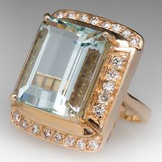 12 Carat Aquamarine & Diamond Halo Cocktail Ring 14K Gold