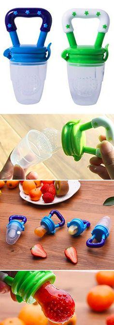 Fruchtsauger, Tinabless Schätzchen Schnuller Gemüse sauger für Schätzchen mit 2 und Clip ( Blau und grün) -Werbung-