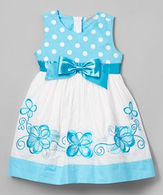 Turquoise Floral Dot A-Line Dress - Toddler & Girls