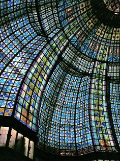 Stained glass dome in Galeries Lafayette department store, Paris.
