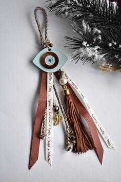 Christmas Home, Christmas Gifts, Xmas, Christmas Ideas, Greek Evil Eye, Beaded Garland, Lucky Charm, Tassel Necklace, Jewelery