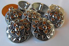 13 Silver Round Flower Small Buttons by AJStuff on Etsy, $2.50