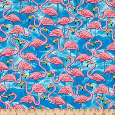 Amazon.com: Times of Your Life Flamingos Aqua Fabric By The YD: Arts, Crafts & Sewing