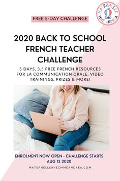 Are you a French primary teacher? Looking for a FUN way to get ready for la rentrée this year? Come join this FREE 5-day French teacher challenge and let's prep together! You'll get 3.5 brand new resources (one digital!) for la communication orale, live video trainings, access to a community of teachers just like you, plus the chance to win prizes! Enrolment is now open and the challenge kicks off Aug 12, 2020. Click to sign up! #frenchimmersion Oral Communication Skills, Free In French, French Resources, French Immersion, French Teacher, Win Prizes, Second Language, Back To School, Kicks