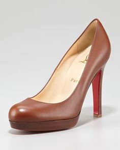 Bruges Leather Platform Red Sole Pump, Medium Brown by Christian Louboutin